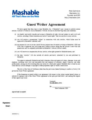 Mashable Guest Writer Agreement