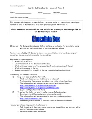 Maths Yr 8 Key Homework Term5 Chocolate Box