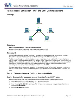 7312 Packet Tracer Simulation - Exploration of Tcp and Udp Instructions