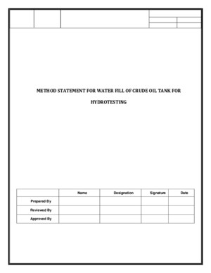 Method Statement for water fill