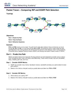 7224 Packet Tracer - Comparing RIP and EIGRP Path Selection Instructions