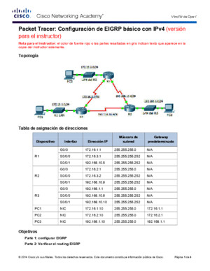 7224 Packet Tracer - Configuring Basic EIGRP With IPv4 Instructions IG
