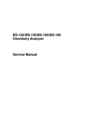 Mindray BS-120,130,180,190 Analyzer - Service Manual
