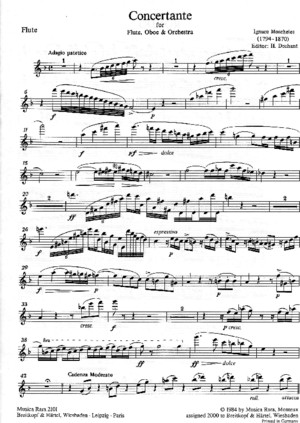 Moscheles-Concertante for Flute,Oboe and Piano in F major score