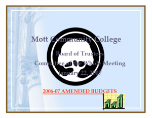 Mott Community College Board of Trustees Committee of the Whole Meeting June 25, 2012 BUDGET RESOLUTIONS