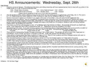 MS Announcements: Wednesday, Sept 26 th