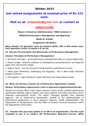 MU0016–Performance Management and Appraisal