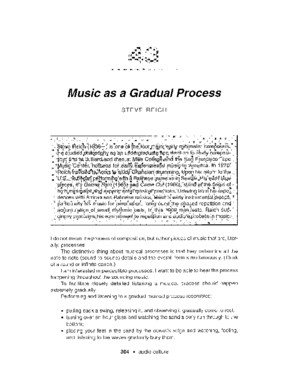 Music as Gradual Process - Steve Reich