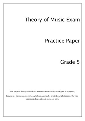 Music Theory Practice Paper Grade 5 ABRSM Style