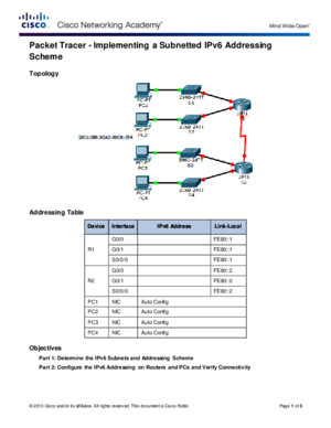 8314 Packet Tracer - Implementing a Subnetted IPv6 Addressing Scheme