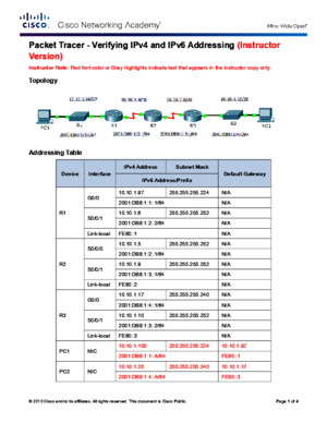 8325 Packet Tracer - Verifying IPv4 and IPv6 Addressing Instructions IG