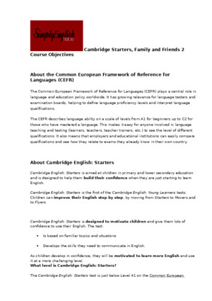 NEW Cambridge Starters Family and Friends 2 Course Objectives