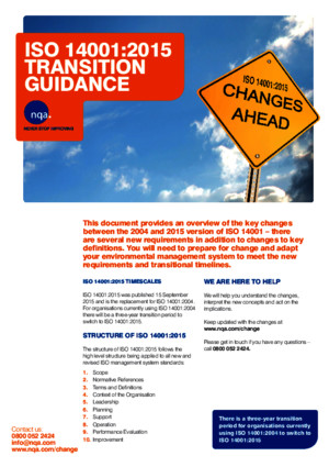 NQA ISO 14001:2015 Transition Guidance