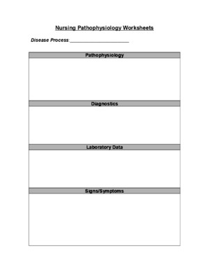Nursing Pathophysiology Worksheets