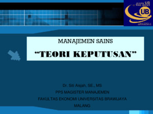 OPERATION RESEARCH TEORI KEPUTUSAN