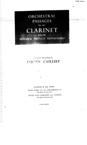 Orchestral Passages for the Clarinet from the modern French Repertoirepdf