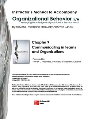 Organizational Behavior Chapter 8