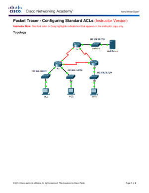92110 Packet Tracer Configuring Standard ACLs Instructions IG