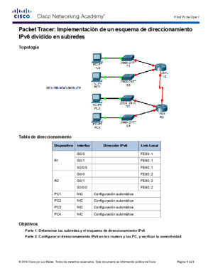 9314 Packet Tracer - Implementing a Subnetted IPv6 Addressing Scheme Instructions