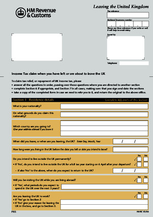 p85 Form - Hmrc - Leaving the Uk - Download Documents