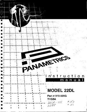 Panametrics 22DL Ultrasonic Thickness Gauge Manual