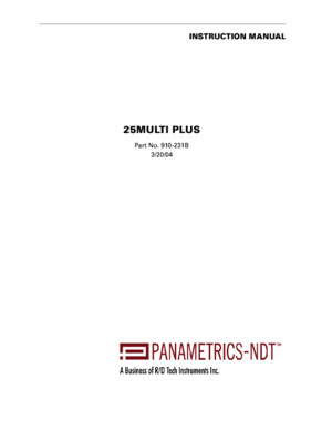 Panametrics 25 Multi Plus Manual