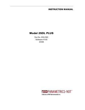 Panametrics 25DLP Instruction Manual