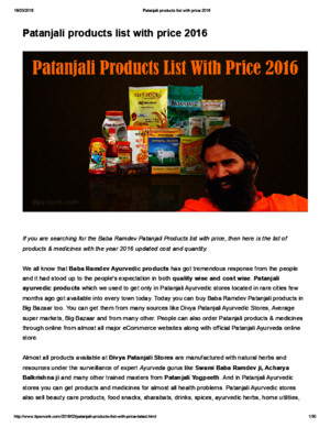 Patanjali Products Medicines List With Price 2016 PDF Free Download