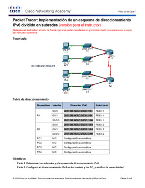 9314 Packet Tracer - Implementing a Subnetted IPv6 Addressing Scheme Instructions IG
