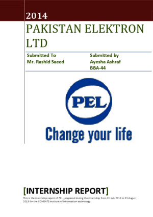 PEL internship report 11-2014