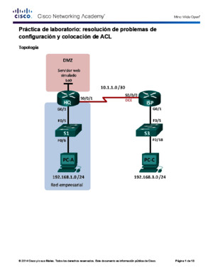 9427 Lab - Troubleshooting ACL Configuration and Placement