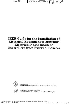 95354467 IEEE Std 518 Guide for the Installation of Electrical Equipment to Minimize Electrical Noise Inputs Ed 1982