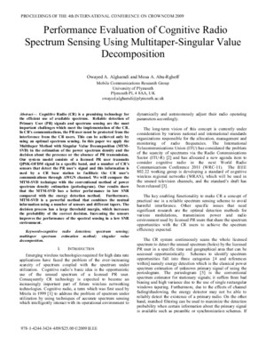 Performance Evaluation of Cognitive Radio Spectrum Sensing Using Multitaper-singular Value Decomposition