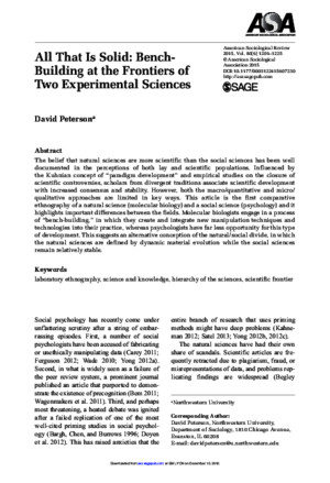 Peterson, All That is Solid, Bench Building at the Frontiers of Two Experimental Sciences