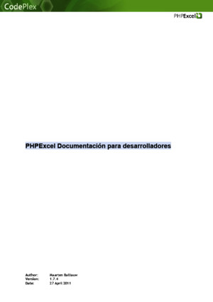 PHPExcel Documentation de Desarrollo