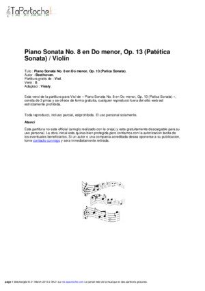 Piano Sonata No 8 in c Minor Op 13 Pathetique Sonata Violin v0sera
