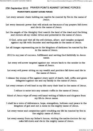 Prayer Points Against Satanic Forces