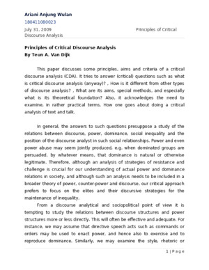 Principles of Critical Discourse Analysis