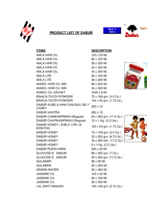 Product List of Dabur