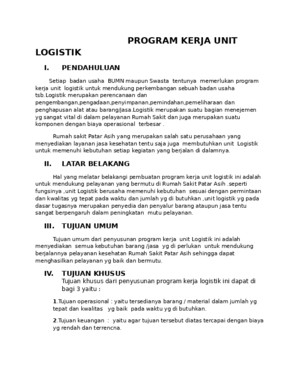 Program Kerja Unit Logistik