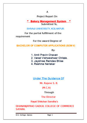 Project Report on Bakery Management System