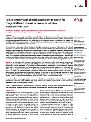 Pulse oximetry with clinical assessment to screen for congenital heart disaese in neonates in Chinapdf