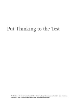 Put Thinking to the Test - Lori L ConrMatthews & Cheryl Zimmerman & Patrick a Allen & Ellin Oliver Keene