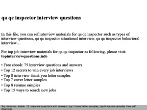 Qaqc Inspector Interview Questions