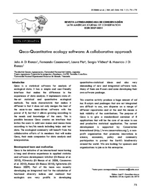 Qeco-Quantitative Ecology Software a Collaborative Approach