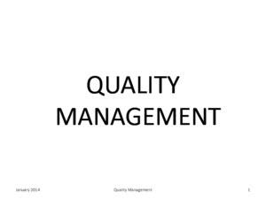 Quality Management Tools and Techniques 2014 Part 1 Stver