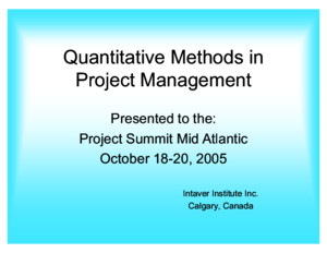 Quantitative Methods for Project Managementpdf