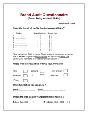 Questionnaire for Brand Audit Nokia
