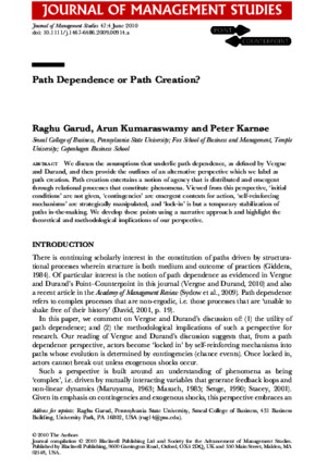 Raghu Garud Path Dependence or Path Creation