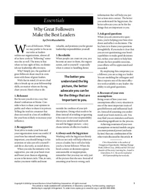 Reading 1 - Why Great Followers Make the Best Leaders